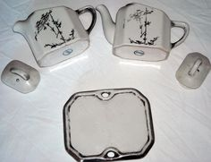 $54.40 & Ships Free!  Antique 5 Piece HALL Tea For Two Set White W/ Silver Trim Ships Free in the USA