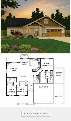 Craftsman House Plan with 1785 Square Feet and 3 Bedrooms from Dream Home Source… - Traumhaus Craftsman Style House Plans, Ranch House Plans, Best House Plans, Dream House Plans, Small House Plans, House Floor Plans, Dream Houses, House Plans With Garage, 3 Bedroom Home Floor Plans
