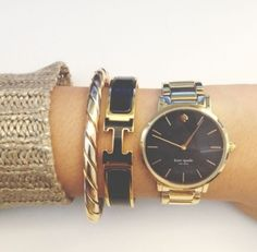 Kate Spade watch. Hermes bracelet. Would look perfect with my black and gold Kate Spade purse.