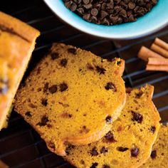 Pumpkin Bread With Chocolate Chips. Cinnamon and pumpkin blend for an ideal autumnal breakfast bread.