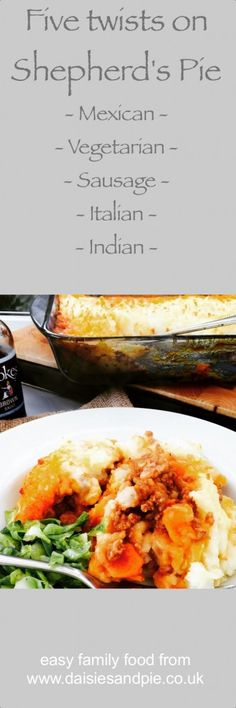 Five twists on shepherd's pie - add some tasty interest to a plain old shepherd's pie with our 5 twisty recipes for flavouring up your shepherd's pie the family will just love | Daisies & Pie
