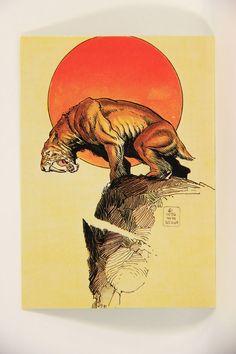 L004565 William Stout Artwork Lost Worlds 1993 / Sabertooth 1976 / Card #2 - ENG