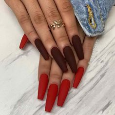 Long Matte Coffin Nails Nails 41 Pretty Ways to Wear Red Nails Red Matte Nails, Dark Red Nails, Black Coffin Nails, Gold Glitter Nails, Brown Nails, Rhinestone Nails, Funky Nails, Cute Nails, Pretty Nails