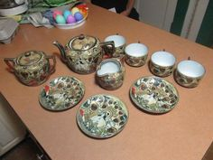 Antique Nippon 10 Piece Tea Set Hand Painted with Gold Accents