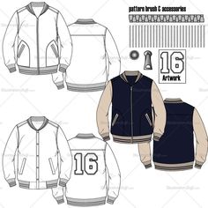 Fashion Design Drawing Product Image - Men's varsity jacket fashion flat template includes back Fashion Design Jobs, Fashion Design Template, Fashion Design Sketches, Jacket Drawing, Guy Drawing, Drawing People, Drawing Tips, Illustrator, Clothing Sketches