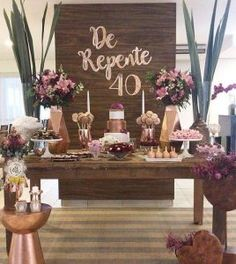 De repente Via A Festa e Sua Oficial By e … Suddenly 40 ! party Via The Party And Its Official By And Via 40th Birthday Themes, 60th Birthday Decorations, 40th Bday Ideas, Gold Birthday Party, Birthday Woman, Birthday Bash, Women Birthday, Childrens Party, Ideas Vintage