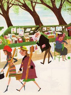 Antiquarian bookshop, walking on Sunday / Librería de libros antiguos, paseando el domingo (ilustración de Richard Erdoes) Paris