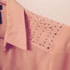 Dress shirt with bling Light pink collared blouse with gold and rhinestone studs Tops Button Down Shirts