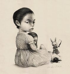 """Mengemas Rupa"" is an illustration series by Roby Dwi Antono, an Yogyakarta based artist, illustrator and graphic designer, who is heavily influenced by masters like Mark Ryden and Marion Peck. Plant Illustration, Illustration Sketches, Character Illustration, Botanical Illustration, Digital Illustration, Dark Drawings, Amazing Drawings, Surealism Art, Rabbit Art"