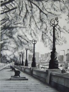 South Bank London by Trudi Michaela Chase Art Paintings For Sale, Modern Art Paintings, Traditional Artwork, London Art, White Acrylics, Online Art Gallery, Original Art, Black And White, Cityscapes