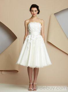 Fantastic Strapless A-line Knee-Length Appliques Wedding Dresses