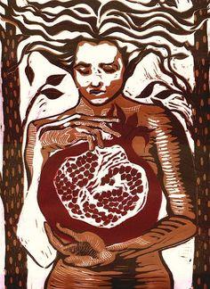 Persephone, Linoleum Block Print, 2007 by MiriamMinx