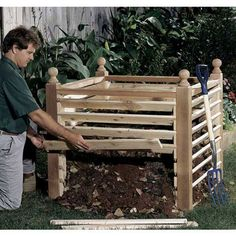 Wood Magazine - Woodworking Project Paper Plan to Build Compost Crib Compost Crib Woodworking Plan Woodworking Kits, Easy Woodworking Projects, Diy Wood Projects, Garden Projects, Woodworking Furniture, Woodworking Equipment, Woodworking Magazine, Woodworking Workshop, Sketchup Woodworking