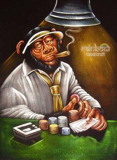 Black velvet hand painting art gambling poker mexican player cigar smoker  monkey 1638dac170d5