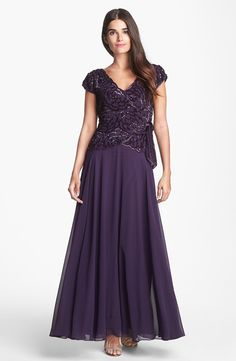 J Kara Embellished Mock Two Piece Gown