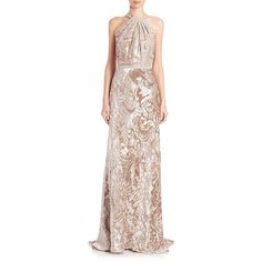 Carmen Marc Valvo Embossed Velvet Toga Gown ($1,360) ❤ liked on Polyvore featuring dresses, gowns, apparel & accessories, champagne, metallic dress, sleeveless dress, ruched dress, champagne evening gown and champagne dress