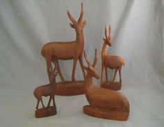 Vintage Hand Carved #Antelopes lot Of 4 Made In Kenya Lovely Home Decor
