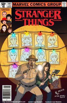 Stranger Things reimaginado como tapas de comics de los 80's