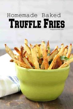 Homemade Oven-Baked Truffle Fries - easy baked french fries recipe with truffle oil, parmesan cheese, and parsley. Bake in the oven or use an air fryer! Garlic French Fries, Oven Baked French Fries, Best French Fries, Making French Fries, Air Fryer French Fries, Homemade French Fries, Homemade Fries In Oven, Fries In The Oven, Fries Oven