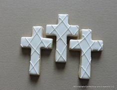 Lattice pattern cross cookies for baptism communion wedding