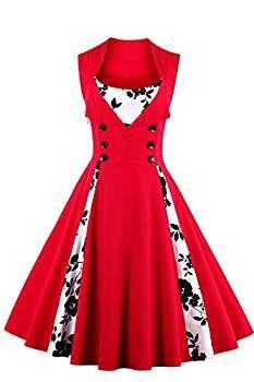 ef4de79f4 Babyonlinedress Vestido vintage y casual cuello cuadrado sin mangas falda  plisada botones por la cintura vestido de coctel de fiesta  Amazon.es  Ropa  y ...