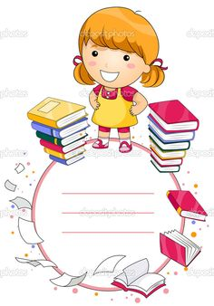 Education Kid with Space for Text - Vector , School Border, School Frame, School Labels, Baby Frame, School Clipart, Binder Covers, School Photos, School Lessons, Writing Paper