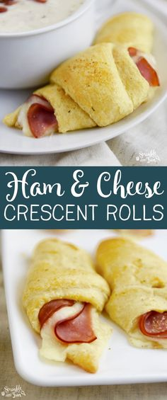 Ham and Cheese Crescent Rolls are like the older, slightly sophisticated cousin of a pig in a blanket! :) (delicious snacks ham and cheese) Ham And Cheese Croissant, Croissant Recipe, Pillsbury Croissant, Cheese Snacks, Cheese Bites, Cresent Rolls, Good Food, Yummy Food, Delicious Snacks