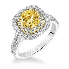 This enchanting Fancy Yellow Diamond ArtCarved is sure to be a winner! Make the moment perfect by getting her ring from Azzi Jewelers - where Lansing gets engaged! Yellow Diamond Engagement Ring, Split Shank Engagement Rings, Yellow Diamond Rings, Engagement Ring Photos, Perfect Engagement Ring, Wedding Engagement, Bridal Rings, Wedding Ring Bands, Wedding Jewelry