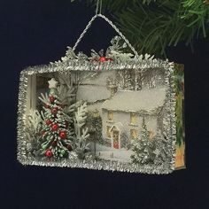 52 Vintage Christmas Ornaments That Take Us To a Stroll Down Memory Lane - Shadow Box - christmas Vintage Christmas Crafts, Christmas Card Crafts, 3d Christmas, Christmas Projects, Handmade Christmas, Holiday Crafts, Victorian Christmas Decorations, Country Christmas, Christmas Vignette