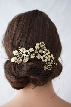 Wedding Headpiece Flower Comb Black Crystal Hair Comb Antique Gold Bridal Hair Accessory Golden Shadow Rhinestone Evening Hair Piece GAEA