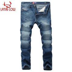 European Retro Design Mens Jeans Newly Fashion Scratch Ripped Jeans Men Classic Pants Latin Cow Brand Blue Color Stripe Jeans
