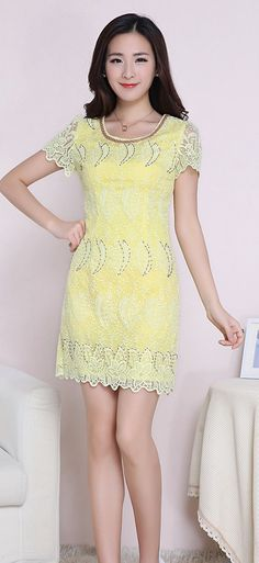 Unique Lace Dress with Pearl Collar YRB0031