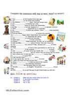 A revision worksheet on to be, have got/has got, plurals, there is/there are. There are different exercises that will help your students to revise the material. - ESL worksheets