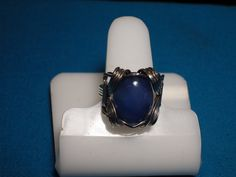 Stainless Steel Ring with Deep Blue Agate Focal