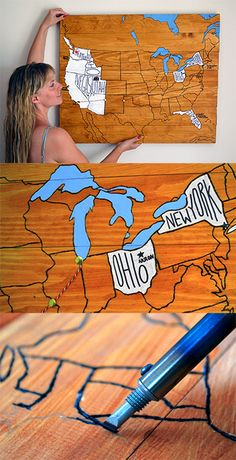 Make this personalized travel map using wooden planks (pallet wood!), and design it with your own travels and memories. The neat thing about this project is that the piece can be displayed on the wall but it can also be converted into a camping table top.   Idea and design from Lovely Greens