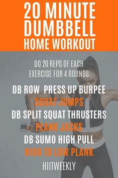 One of our favorite workout plans with dumbbells to lose weight fast that can be done at home anytime. Try this workout today and let us know how you get on! Hiit Workouts With Weights, Full Body Hiit Workout, Weight Training Workouts, Best Cardio Workout, Circuit Training, Dumbbell Workout, Fun Workouts, At Home Workouts, Workout Plans