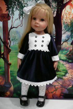 PIXIES:GOTZ HANNAH/DESIGNA FRIEND  velvet dress,lace tights,hairbow HAND MADE