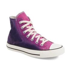 Converse Chuck Taylor All Star 'Sunset Wash' High Top Sneaker ($65) ❤ liked on Polyvore featuring shoes, sneakers, laced shoes, ombre sneakers, star shoes, fleece-lined shoes and rubber sole shoes