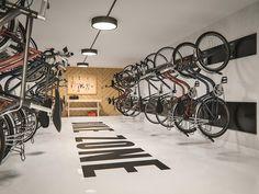 Bicycle Cafe, Bicycle Shop, Bike Store, Garage Bike, Bike Shed, Shop Interior Design, Store Design, Garage Apartment Floor Plans, Garage Apartments
