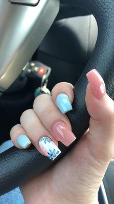 Cute Nail Art Designs, Nail Designs Spring, Flower Nail Designs, Nails With Flower Design, Floral Designs, Designs For Nails, Acrylic Nails With Design, Best Nail Designs, Acrylic Nail Designs For Summer