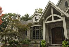 David Small Designs is an award winning custom home design firm. See a portfolio of our The Ravine Estate House project Brick Siding, Stone Siding, Craftsman Exterior, Exterior Siding, Stone Exterior, Exterior Paint, Cottage Style Homes, Custom Home Designs, Brick And Stone