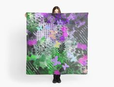 'Purple And Green Abstract Butterfly Pattern' Scarf by jaggerstudios Iphone Wallet, Iphone Cases, Butterfly Pattern, Chiffon Tops, Scarves, Deep, Abstract, Purple, Scarfs