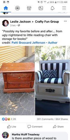 Storage Chair, Book Storage, Furniture Vanity, Painted Furniture, Outdoor Sofa, Outdoor Furniture, Outdoor Decor, Nightstand, Repurposed