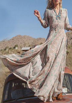 Multicolor Floral Print Irregular Sashes Front Slit V-neck Elastic Waist Seven's Sleeve High-Low Boho Maxi Dress