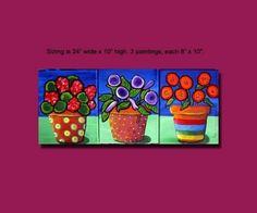 Funky Fun Colorful Flowers Vases Folk  Art 3 by reniebritenbucher, $69.99