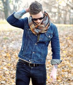 men styles, fashion styles, jeans, double denim, fall looks, jean jackets, men fashion, men clothes, scarves