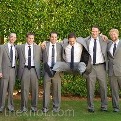 Casual Wedding Party Looks Gray Groomsmen Suits, Groom And Groomsmen Attire, Bridesmaids And Groomsmen, Gray Suits, Mens Suits, Casual Wedding, Party Looks, Here Comes The Bride, Wedding Inspiration