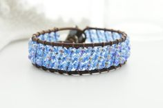 Sail Boat Leather Cuff Bracelet Beaded Leather Cuff Bracelet