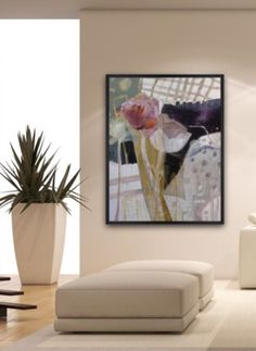 'Drawn Curtains I' acrylic canvas By Dorothy Ganek viewed in a beautiful white interior Acrylic Canvas, Big Canvas, Flower Paintings, Landscape Paintings, Home Interior, Interior Decorating, Detail Art, Art Installation, Triptych