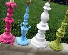 Originally brass lamps from goodwill, spray paint in bright colors. Love this idea